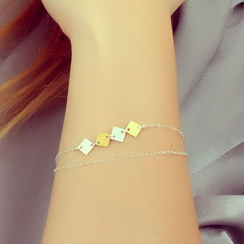 "Square silver bracelet, geometric jewelry, layering bracelet, tiny gold square bracelet, mixed metal bracelet, everyday jewelry, ""Pandora"""