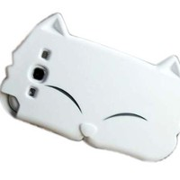 New Cute Cartoon Cat Silicone Case Cover for Samsung Galaxy S3 i9300 White:Amazon:Cell Phones & Accessories