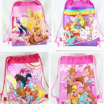 12Pcs Hot Winx Club Drawstring Boys Girls Cartoon School Bag Children Printing School Backpacks Gifts for Birthday Party Bags