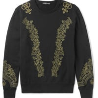 Alexander McQueen - Embroidered Loopback Cotton-Jersey Sweatshirt