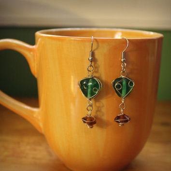 Handcrafted wire wrapped earrings // Green and Amber // Earrings // Boho Jewelry // Jewellery // Statement
