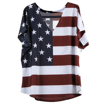 2017 Fashion American Flag Pattern Women Casual T Shirt Top Stars Striped Print Top Crop Female T-shirts S4