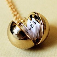 Shiny Gold Secret Message Locket  Vintage by HeartworksByLori