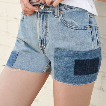 LA.EDIT Patchwork Denim High Rise Shorts at PacSun.com