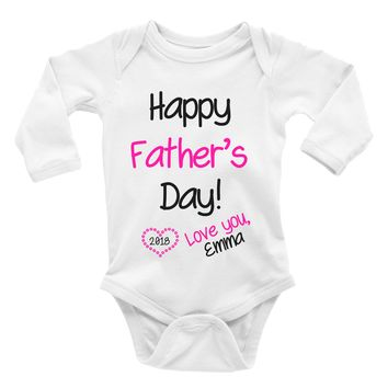 Happy Father's Day 2018 Onesuit. Baby Bodysuit.