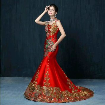 Traditional Luxury Red Embroidery Evening Qipao Cheongsam Chinese Oriental Dress
