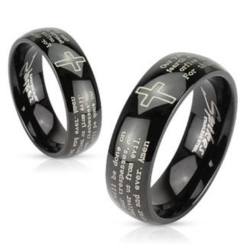 Cross and Lords Prayer Black IP Stainless Steel Dome Band Ring