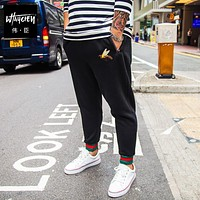 Plus size trousers casual plus size plus size men's clothing health pants black embroidery elastic trousers