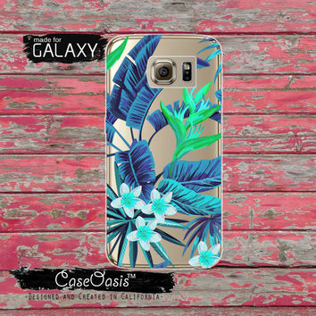 Blue Tropical Leaves Pattern Floral Flowers Summer Inspired Tumblr Clear Galaxy S6 Cas