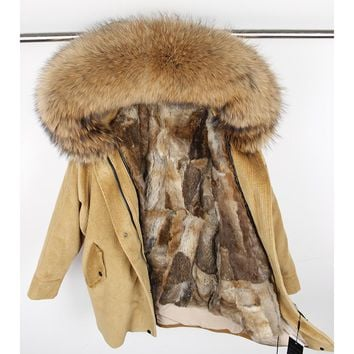 winter Natural rabbit fur lining jacket coat Women parka fur coat Corduroy real raccoon fur collar warm Long parkas