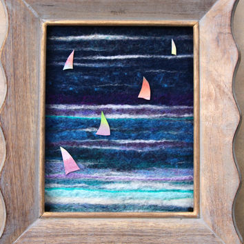 Little Sails:  Needle Felt Ocean Scene with Watercolor Sailboats in Distressed Wood Frame Beach Cottage Decor