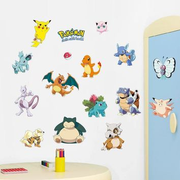 Pikachu Mura DIY Generic Removable Decal 1493. Wall Sticker Kids Room Home DecorKawaii Pokemon go  AT_89_9