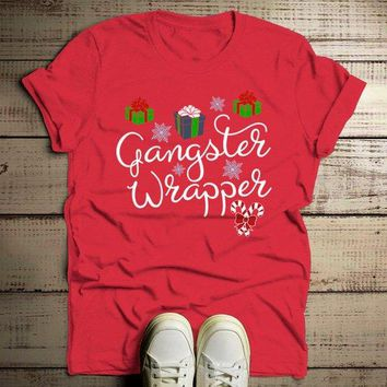 Men's Funny Gangster Wrapper T Shirt Christmas Shirts Wrapping Presents Graphic Tee