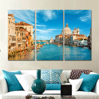 Modern City Landscape Painting on Canvas Wall Art Painting Home Decor Oil Picture Cuadros Decoracion Canvas Art Unframed 3pcs