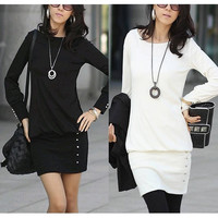 Women's Stylish Slim Fit Scoop Neck Long Sleeve Knitting Dresses Beaded Shirt Dress F_F SV011962 = 1902387844