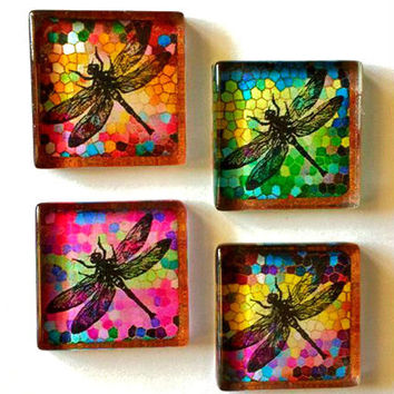 Glass Magnets - Dragonflies - Necklace Cabochon Supplies - Set of 4 - 1 Inch Glass Squares with or without magnets