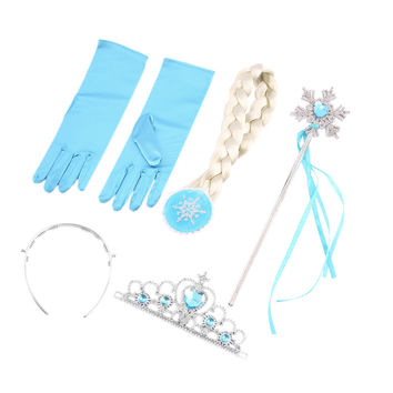 100% Brand New 4Pcs set Princess Elsa Anna Hair Accessories Crown Wig Magic Wand Glove for Kids Party