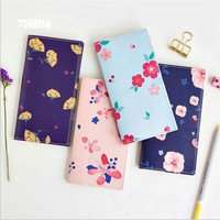 The color of flowers Dark PU Leather Cover Diary Planner Notebook Weekly Journal Organizer Travel Schedule Notebook
