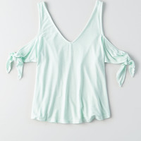 AEO Soft & Sexy Cold Shoulder Tie Sleeve Top, Mint