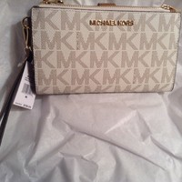 NWT MICHAEL KORS LEATHER / PVC JET SET TRAVEL DOUBLE ZIP WALLET BROWN & VANILLA