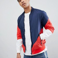 Pull&Bear Bomber With Colour Block In Navy at asos.com