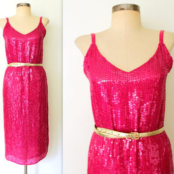 Sequin Dress / Silk Sequined Dress / SLINKY PINK Party Dress