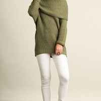 Umgee chunky cowl neck off shoulder sweater