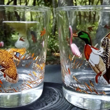 Game Bird Glasses Libbey Rock Sharpe Mallards Old Fashion Bar Drink Glasses