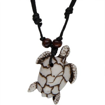 White Carved Sea Turtle Necklace with Cord