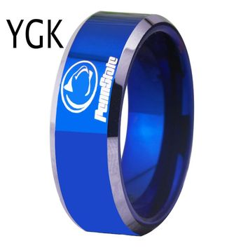 Free Shipping Customs Engraving Ring Hot Sales 8MM Blue With Shiny Edges Penn state Design Men's Fashion Tungsten Wedding Ring