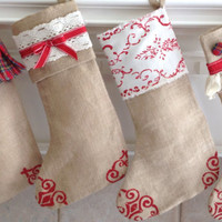 "16"" CHRISTMAS STOCKINGS! - Burlap Stockings! - Rustic Stockings - Natural Stockings"