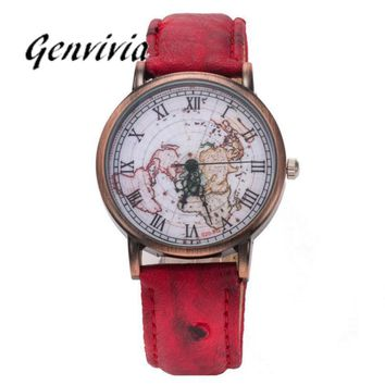 GENVIVIA unisex montre vintage femme women watches with world map leather watch band wrist watch for men relojes mujer 2017
