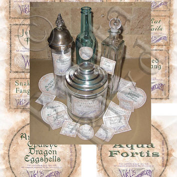Harry Potter - Set 1 Precut Potions Apothecary Alchemy Bottle Labels