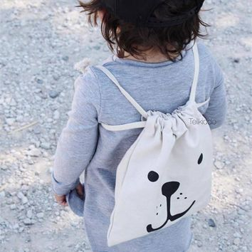 ins Portable Baby Toys clothes Canvas Hanging Organizers Panda Bear Pattern Laundry Bag Pouch Baby Kids Toys clothes storage