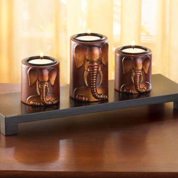 Carved 3D Elephant Set of 3 Tealight Candle Holders & 1 Wooden Stand Home Decor