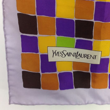 Yves Saint Laurent Scarf About 26-27 inch no tag feels like silk scarf geometric scarf gem tone scarf jewel tone scarf Colorblock scarf