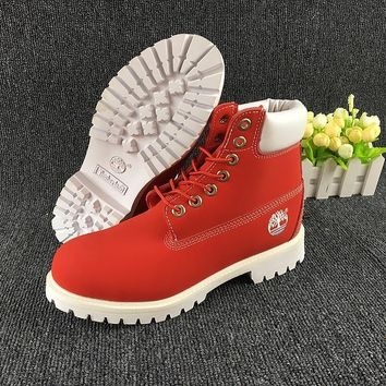 hcxx Timberland Rhubarb Boots White Red Waterproof Martin Boots