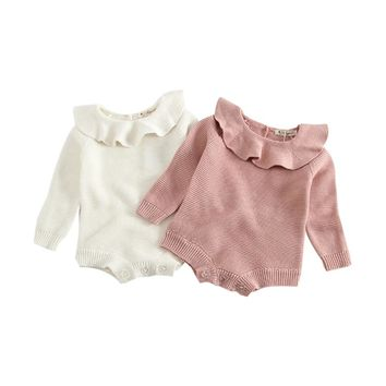 Newborn Infant Baby Boy Girl Weave Bodysuit Knitted Jumpsuit Outfits Clothes Solid Long Sleeve Boys Girls Bodysuits Sweet +