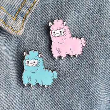 Cute Kawaii Animal Alpaca Brooch Pin Badge Brooche Shirt Denim Jacket Decorated Women Girl Cute Jewelry Gifts