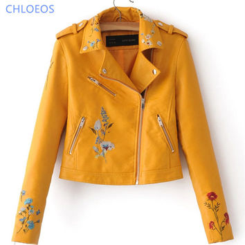 spring bomber jacket women 2017 new Floral Embroidered PU leather female Lapel zip motorcycle jacket female Black yellow red