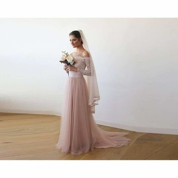 Pink Off-The-Shoulder Lace and Tulle Train Wedding Gown 1162