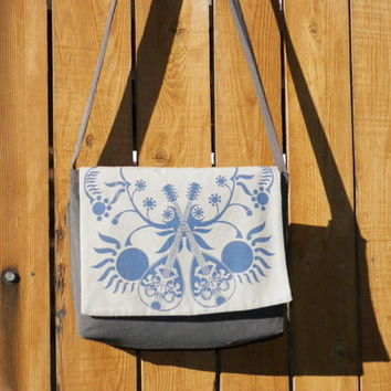 Hip Bag Dual Mandolin Folk Music Cross Body Messenger Bag Dual Mandolin Folk Music Blue and Gray