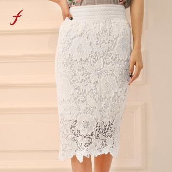 FEITONG Women Skirt Fashion Elastic Lace Knee-Length High Waist Party Skirts Casual Straight Solid White Plus Size Female skirt