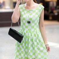 Kawaii Lolita Plaid Round Collar Sleeveless Dress - Green, Rose Red or Blue - S M from Tobi's Finds