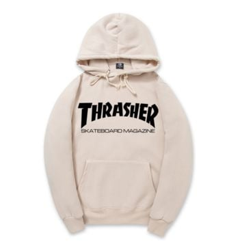 """Thrasher""New flame thickening hoodies sweater Two lines of letters Apricot"