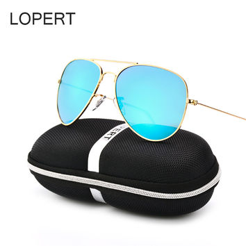LOPERT Classic Brand Designer Aviators Polarized Sunglasses Men Women Glasses Reflective Coating Lens Driving Sun Glasses UV400