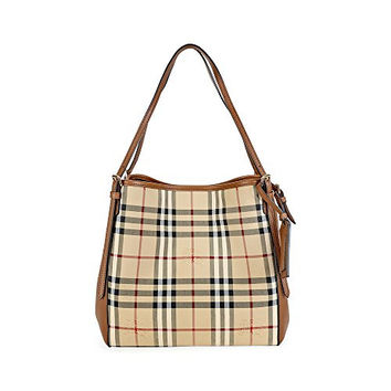 Burberry The Small Canter in Horseferry Check and Smooth Leather Handbag, Honey/Tan