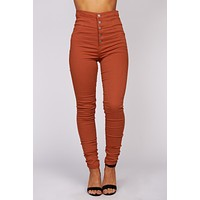 Give It Your All High Waisted Fitted Pants (Light Rust)