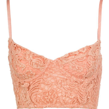 Peach Laced Bralet - Clothing - desireclothing.co.uk