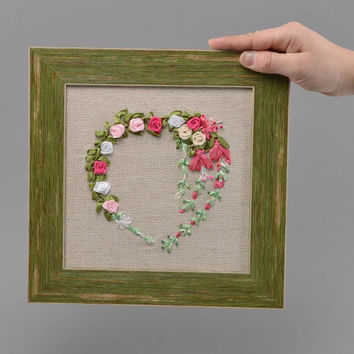 Beautiful handmade satin ribbon embroidery wall panel interior hanging